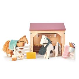 Poppenhuis Huisdierenset Stal met pony's  - Tender Leaf Toys