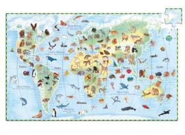 Djeco Ontdek Puzzel 'Werelddieren', 100 st, 61x38 cm