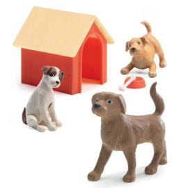 Djeco Poppenhuis honden, 3 stuks met hok