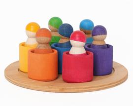 Grimm's 7 houten Regenboogpopjes in bakjes