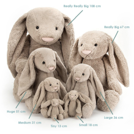 Jellycat Knuffel Konijn 108cm, Bashful Bunny Beige Really Really Big!