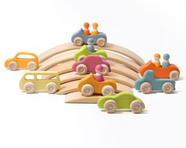 Grimm's houten Cabrio met Poppetje, Groen/Blauw