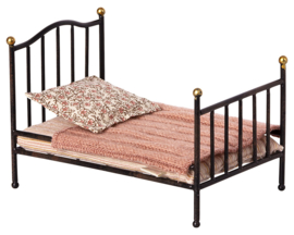 Maileg Metalen Poppenbed, Vintage Bed, Mouse, Micro, Antraciet
