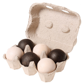 Grimm's 6 houten ballen in eierdoosje, zwart/wit