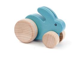 Bajo Houten konijntje op wielen, blauw