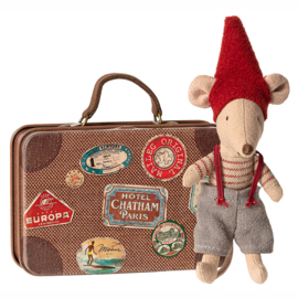 Maileg Pixy muis in koffertje, Christmas Mouse in suitcase