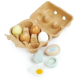 6 houten eieren in eierdoosje  - Tender Leaf Toys