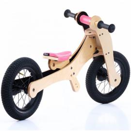 Trybike Wood 4-in-1 loopfiets Roze/Zwart