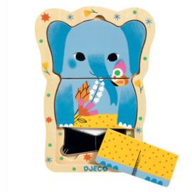 Djeco Houten 3 lagen puzzel, Lucky & Co