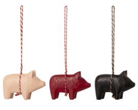 Maileg Houten Varkens Ornamenten, Wooden Pig Ornaments, 3 stuks