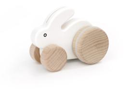 Bajo Houten konijntje op wielen, wit