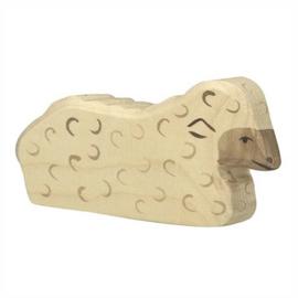 Holztiger Houten schaap wit liggend