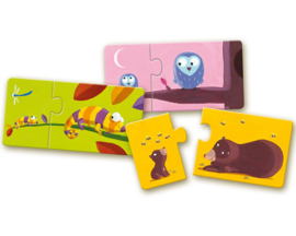 Djeco Duo Puzzels, Mama & Baby, 12 x 2 st