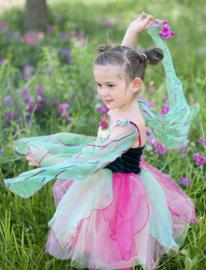Feeënjurk met vleugels groen/roze, 5-6 jaar