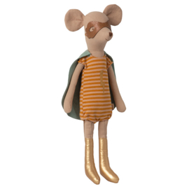Maileg Superheld Muis Medium Meisje, Super Hero Mouse Medium Girl, 31cm