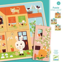 Djeco Houten 3 lagen puzzel, Konijnenhuis, Chez Carot