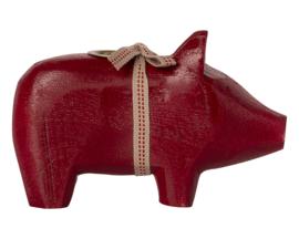 Maileg Houten Kandelaar Varken, Wooden Pig Small Red