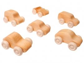 Grimm's 6 houten auto's, naturel