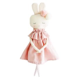 Alimrose Knuffel Konijn, Isabelle Bunny Pink Linen, 40 cm