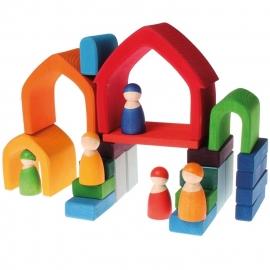 Grimm's houten Regenboog Huisje 5-delig