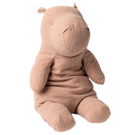 Maileg Knuffel Nijlpaard Safari Friends Hippo Big, Dusty Rose, 54cm