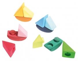 Grimm's 4 gekleurde houten Schommelbootjes