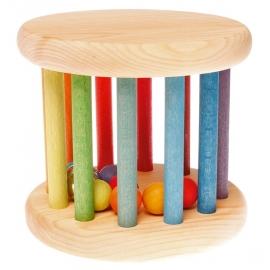 Grimm's groot houten Rollend Wiel, regenboogkleuren
