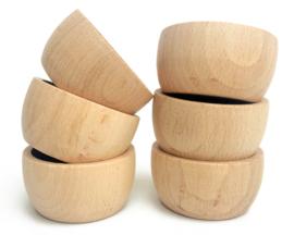 Grapat 6 houten bakjes, Naturel