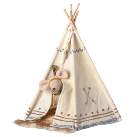 Maileg kleine zus muis Little Feather met Tipi tent