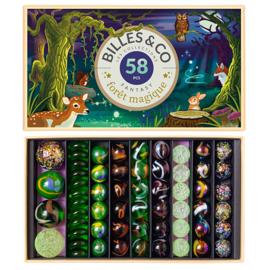 Billes & Co Knikkers in doosje, Foret Magique/Magisch Bos, 58 stuks