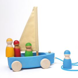 Grimm's houten Zeilboot op wielen met 4 zeilers