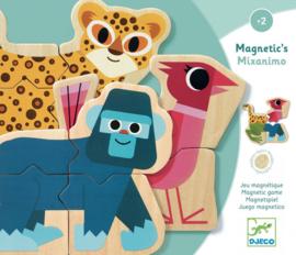 Djeco Houten Magnetische Dieren Puzzels, Mixanimo