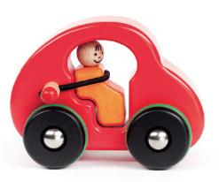 Bajo Grote houten auto met riem en popje