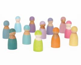 Grimm's 12 houten Regenboogvriendjes in een bakje Pastel