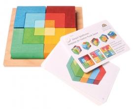 Grimm's houten blokkenset/3d puzzel 'Vierkant' met voorbeeldenboekje