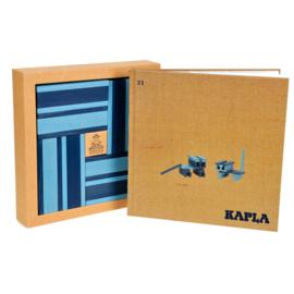 Kapla 40 plankjes blauw en lichtblauw met voorbeeldboek