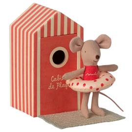 Maileg kleine zus muis in strandhuisje - Little Sister in Cabin de Plage