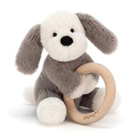 Jellycat Rammelaar met houten Ring Puppy 14cm, Shooshu Puppy