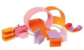 Grimm's houten draagbaar Poppenhuis, Bauhaus, Roze / oranje