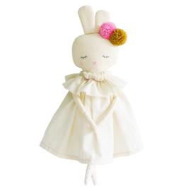 Alimrose Knuffel Konijn, Isabelle Bunny Ivory Linen, 40 cm