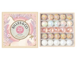 Billes & Co Knikkers in doosje, Mini Box Licorne/Unicorn/Eenhoorn, 25 stuks