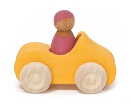 Grimm's houten Cabrio met Poppetje, Oranje/Roze