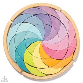 Grimm's houten puzzel/blokkenset 'Kleurencirkel', Pastel