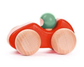 Bajo Houten racewagen, rood/mint