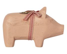 Maileg Houten Kandelaar Varken, Wooden Pig Small Powder