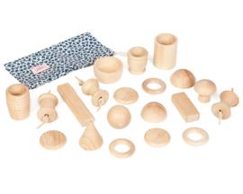 Grapat Naturel houten vormen, Treasure Basket, 20-delig