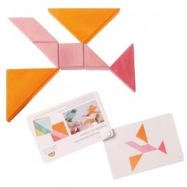 Grimm's houten Tangram met voorbeeldenboekje, oranje-roze