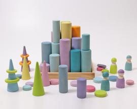 Grimm's Blokkenset Staven/Rollers, Pastel