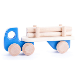 Bajo Houten vrachtwagen met aanhanger, blauw