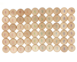 Grapat 60 houten Tel Munten met Cijfers